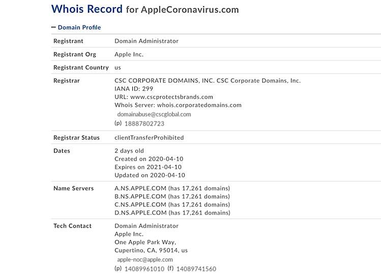 Apple registriert applecoronavirus.com