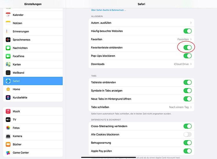 Safari iPadOS: Favoritenleiste einblenden und ausblenden