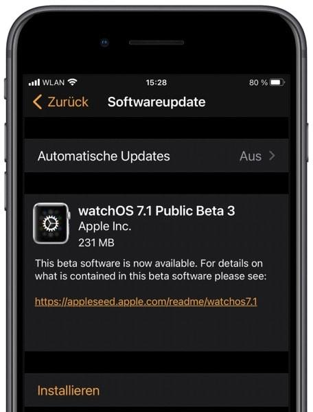 watchOS 7.1 Beta 3: Apple veröffentlicht Public Beta
