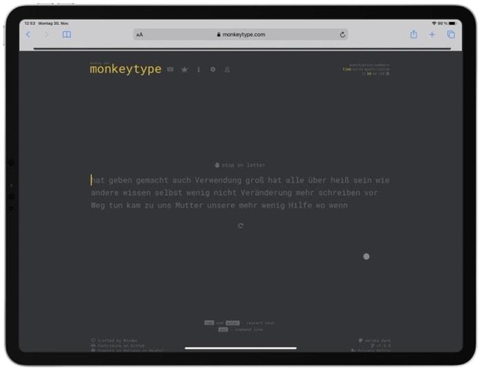 monkeytype - Zehn Finger Schreiben lernen