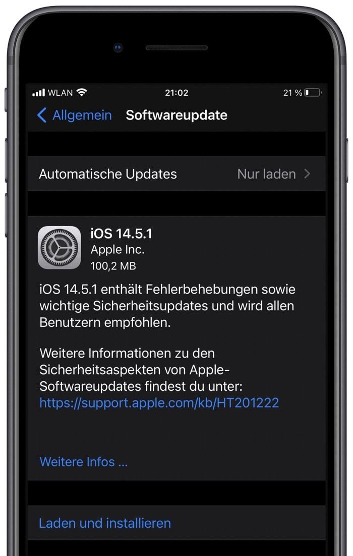 iOS 14.5.1 und iPadOS 14.5.1: Apple veröffentlicht Fehlerbehebung für Tracking
