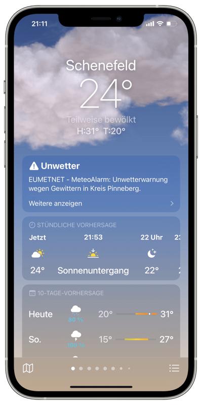 Apple Wetter-App - Übersicht