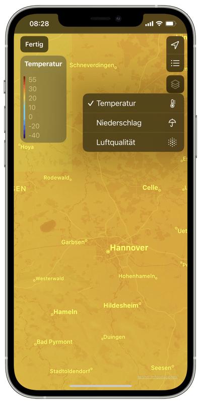 Apple Wetter-App - Wetterkarten