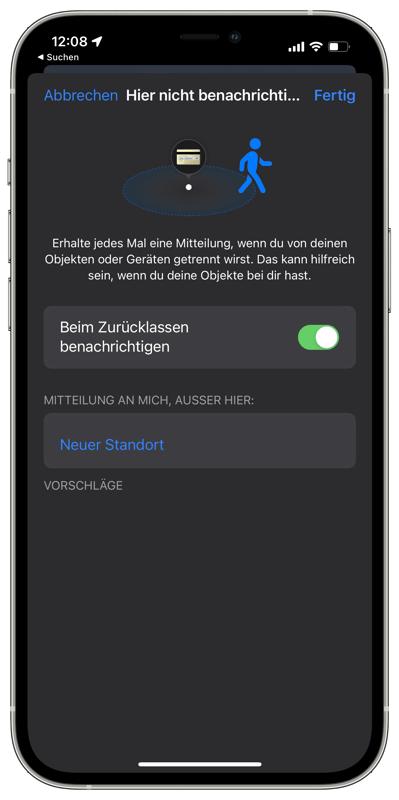 Beim Zurücklassen benachrichtigen - iOS