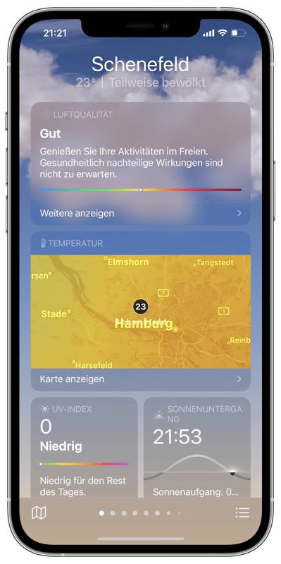 Detaillierte Meteo-Daten der Wetter-App