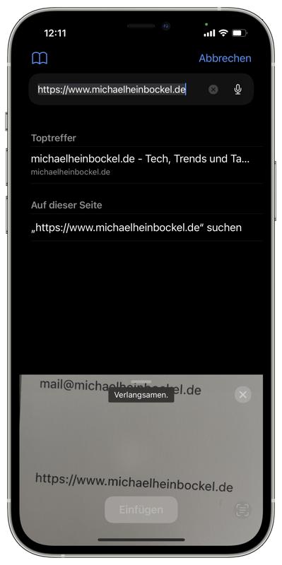 iOS Text von Kamera