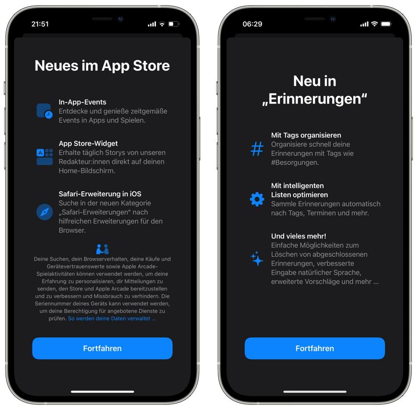 iOS 15 Splash Screens App Store Erinnerungen