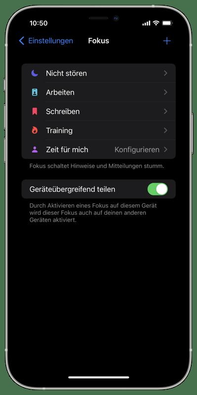 Fokus iOS 15 1