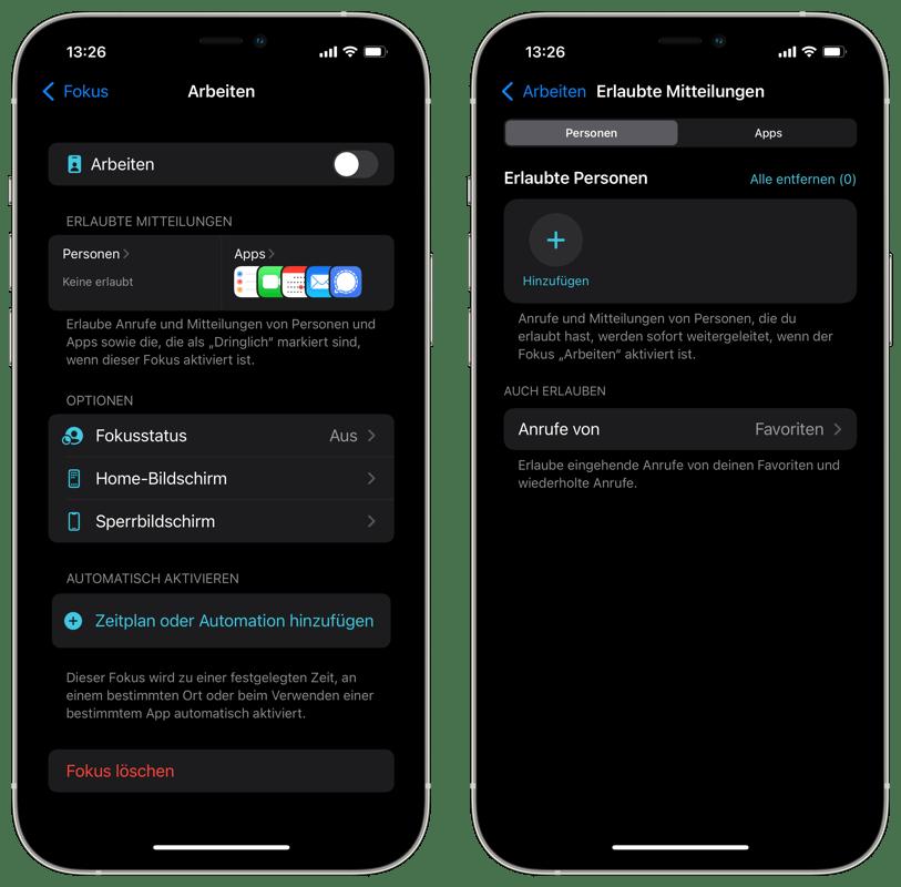 Fokus iOS 15 - Personen