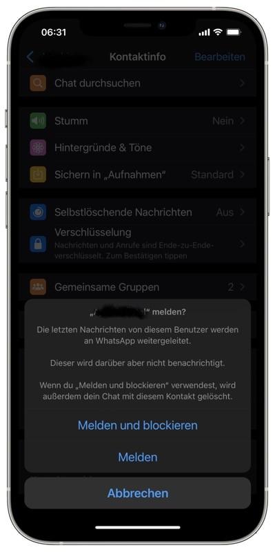 WhatsApp: Nachrichten melden