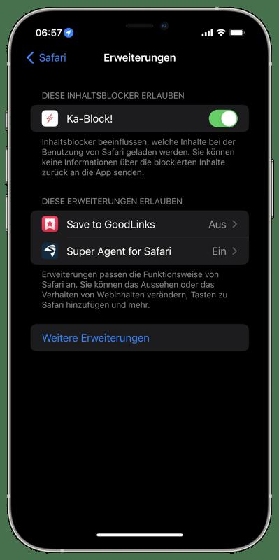 Safari - Erweiterung - Weitere Erweiterungen