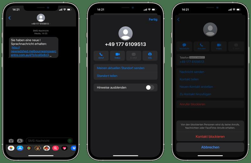 SMS Absender blockieren